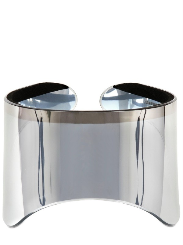 Alexander Mcqueen Silver Mirror Visor In Metallic Lyst