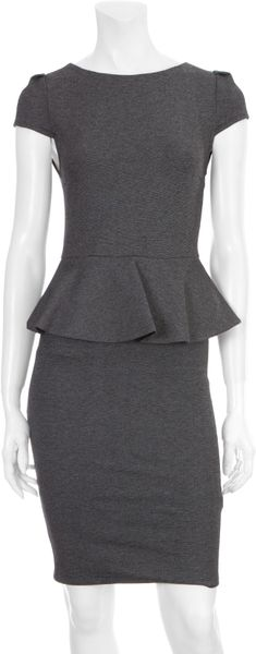 Alice + Olivia Adeline Peplum Dress in Gray (grey) - Lyst