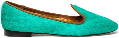 Avec Moderation Mare Calf Hair Dress Slippers in Green