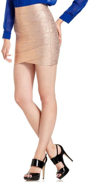 Bcbgmaxazria Silvie Gold Bandage Mini in Gold