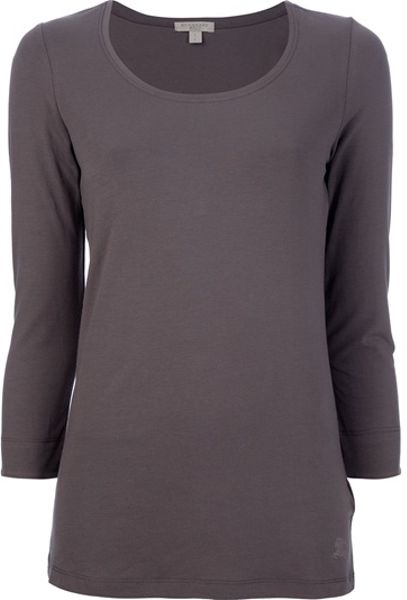 Burberry brit three quarter length sleeve t shirt in brown for Three quarter length shirt