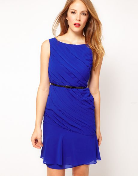 Coast Binky Dress in Colbolt Blue with Belt in Blue