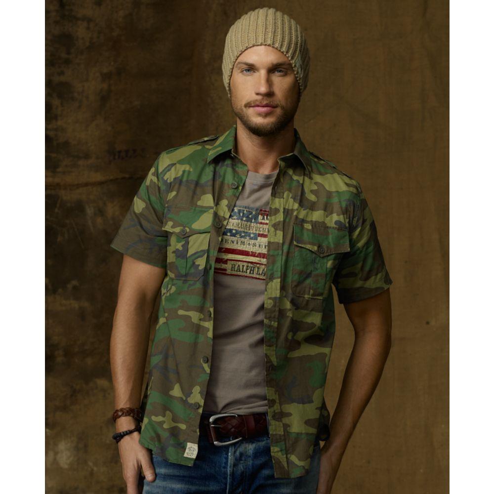 3cea73fed8 Lyst - Denim   Supply Ralph Lauren Camouflage Military Shirt in Blue ...