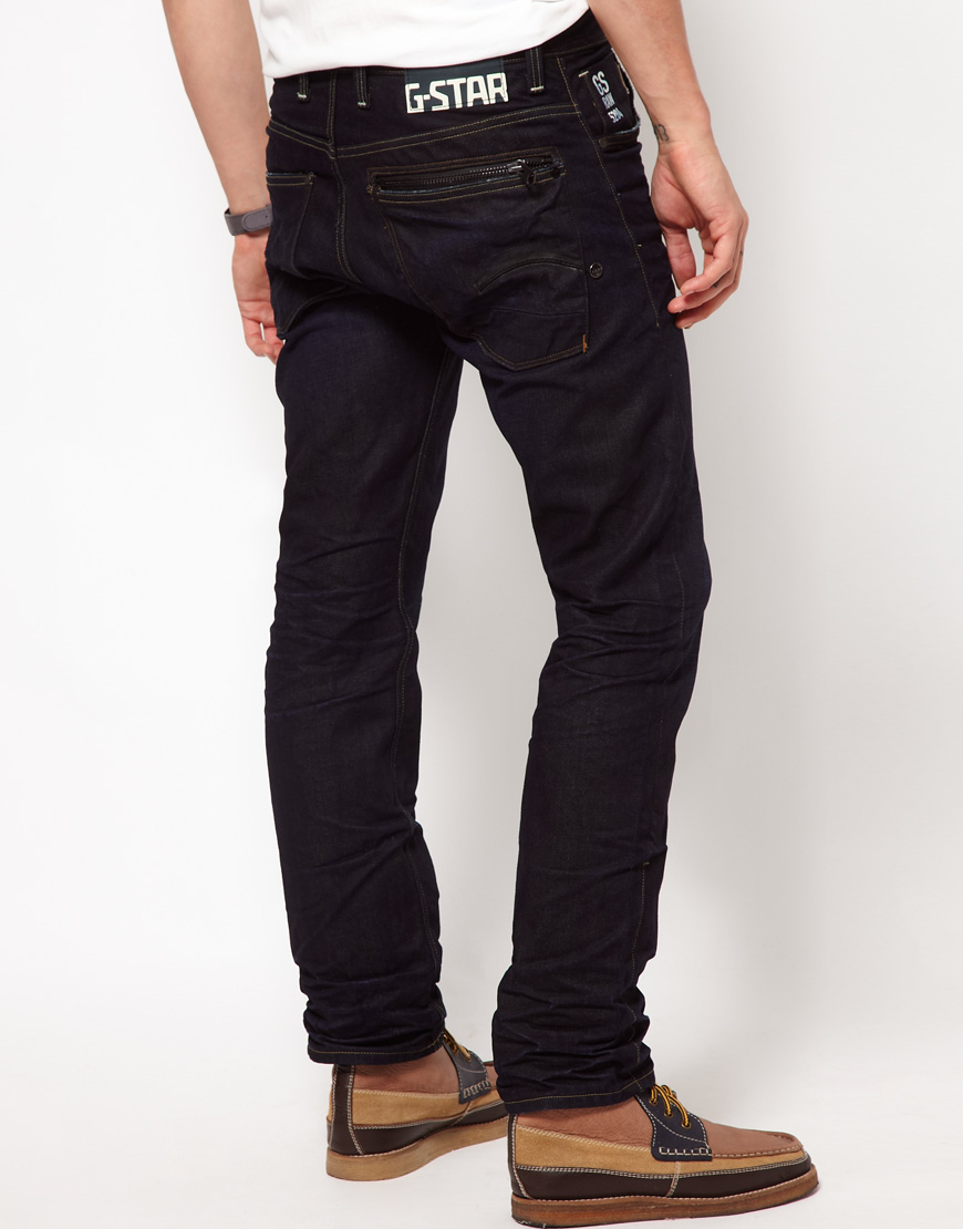 g star raw attacc 3d straight jeans in blue for men lyst. Black Bedroom Furniture Sets. Home Design Ideas