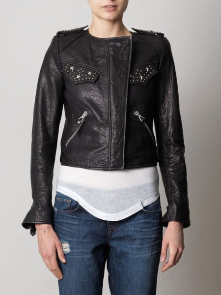 Isabel Marant Edris Studded Leather Jacket In Black Lyst
