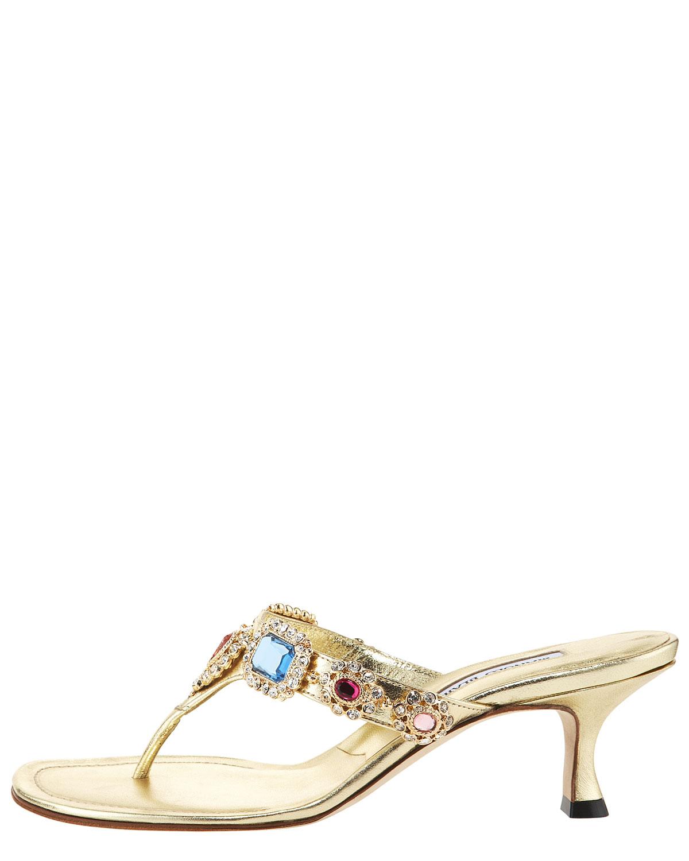 Manolo blahnik Beaded Kitten-heel Thong Sandal in Metallic | Lyst