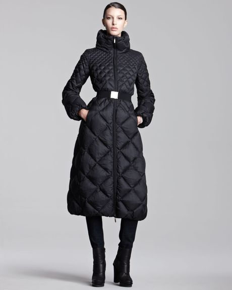 Moncler Long Diamondquilted Belted Puffer Coat In Black Lyst