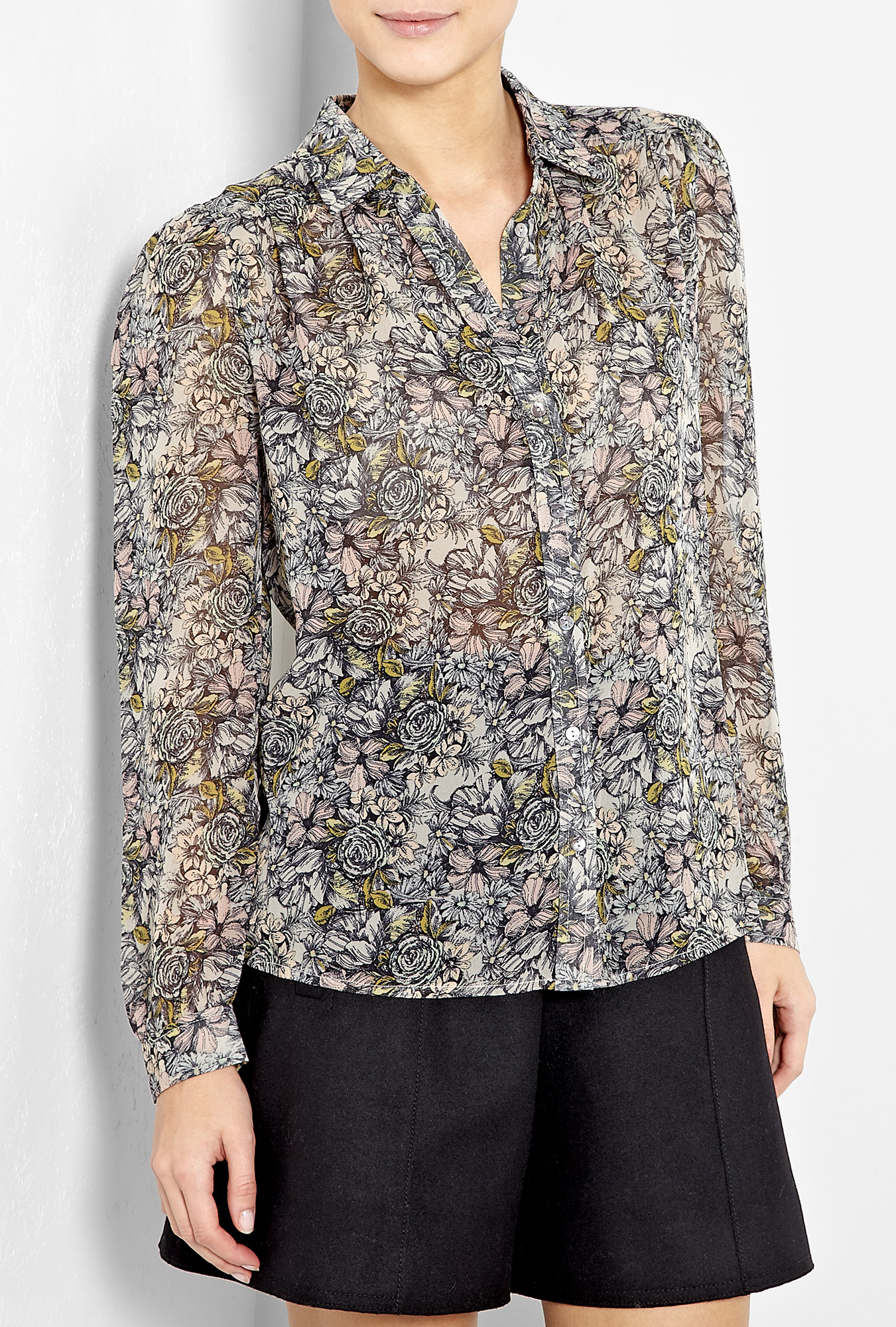 paul joe sister flavien floral printed silk shirt in. Black Bedroom Furniture Sets. Home Design Ideas