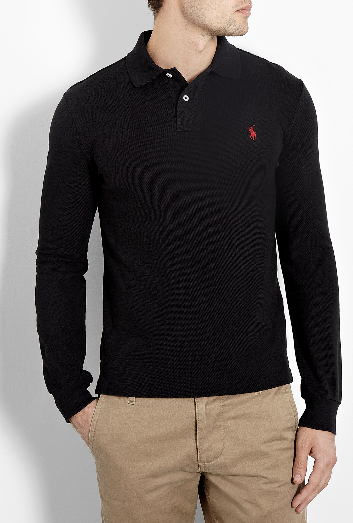 polo ralph lauren black long sleeve slim fit polo shirt in black for men lyst. Black Bedroom Furniture Sets. Home Design Ideas