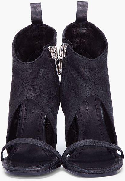 Rick Owens Black Zip Sandal Heels In Blue Black Lyst
