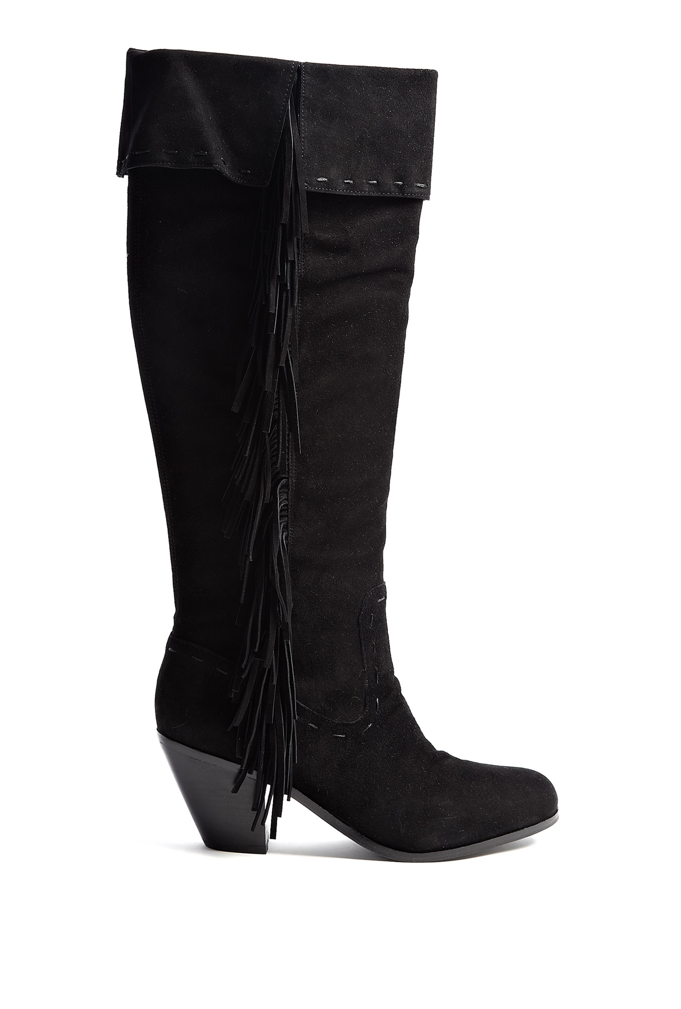 sam edelman louella fringed knee high boots in black lyst