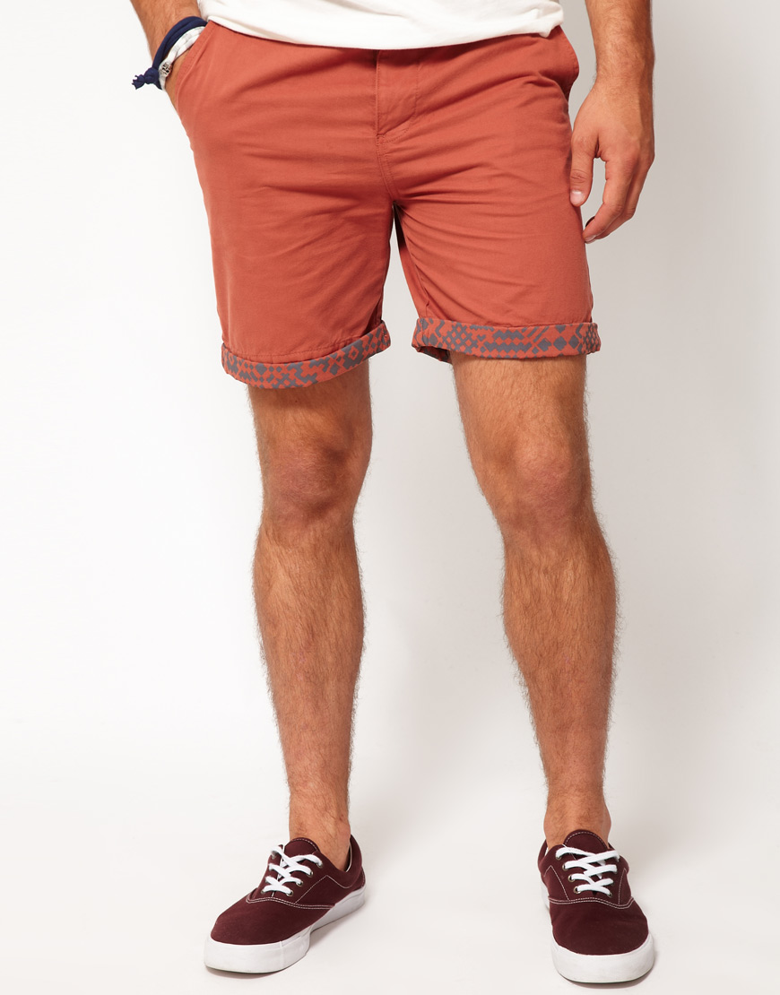 Asos Chino Shorts with Aztec Turn Up in Red for Men | Lyst