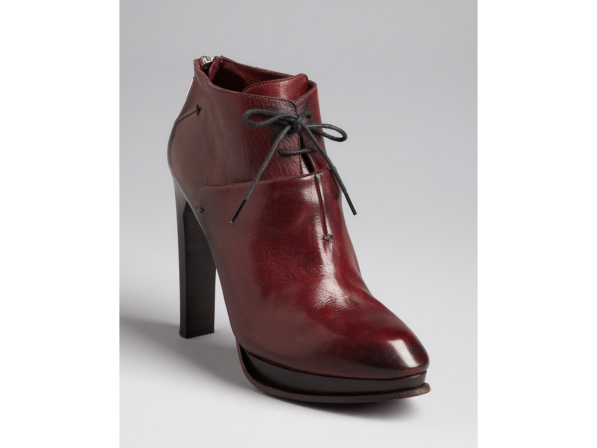 Costume National High Heel Lace Up Platform Booties In