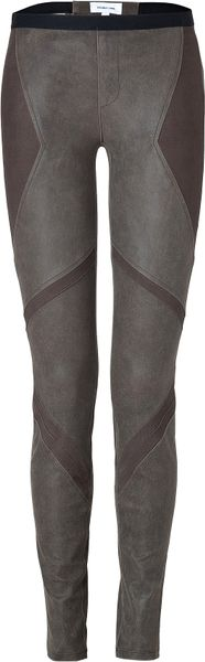 Helmut Lang Olive Lamb Skin Patchwork Leggings in Gray (olive) - Lyst