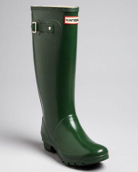 Hunter Huntress Extended Calf Rain Boots In Green Lyst