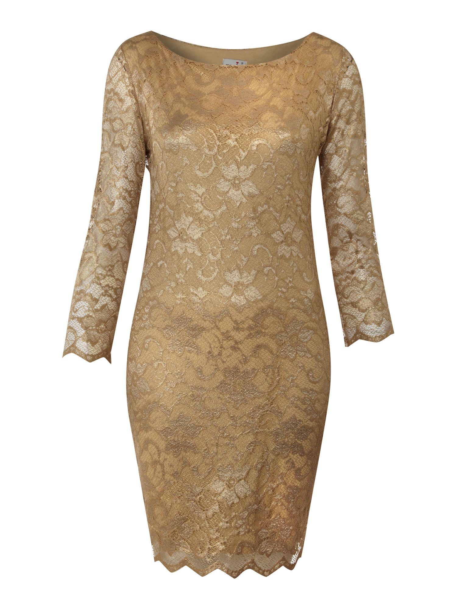John Zack Long Sleeve Metallic Lace Dress In Gold Lyst