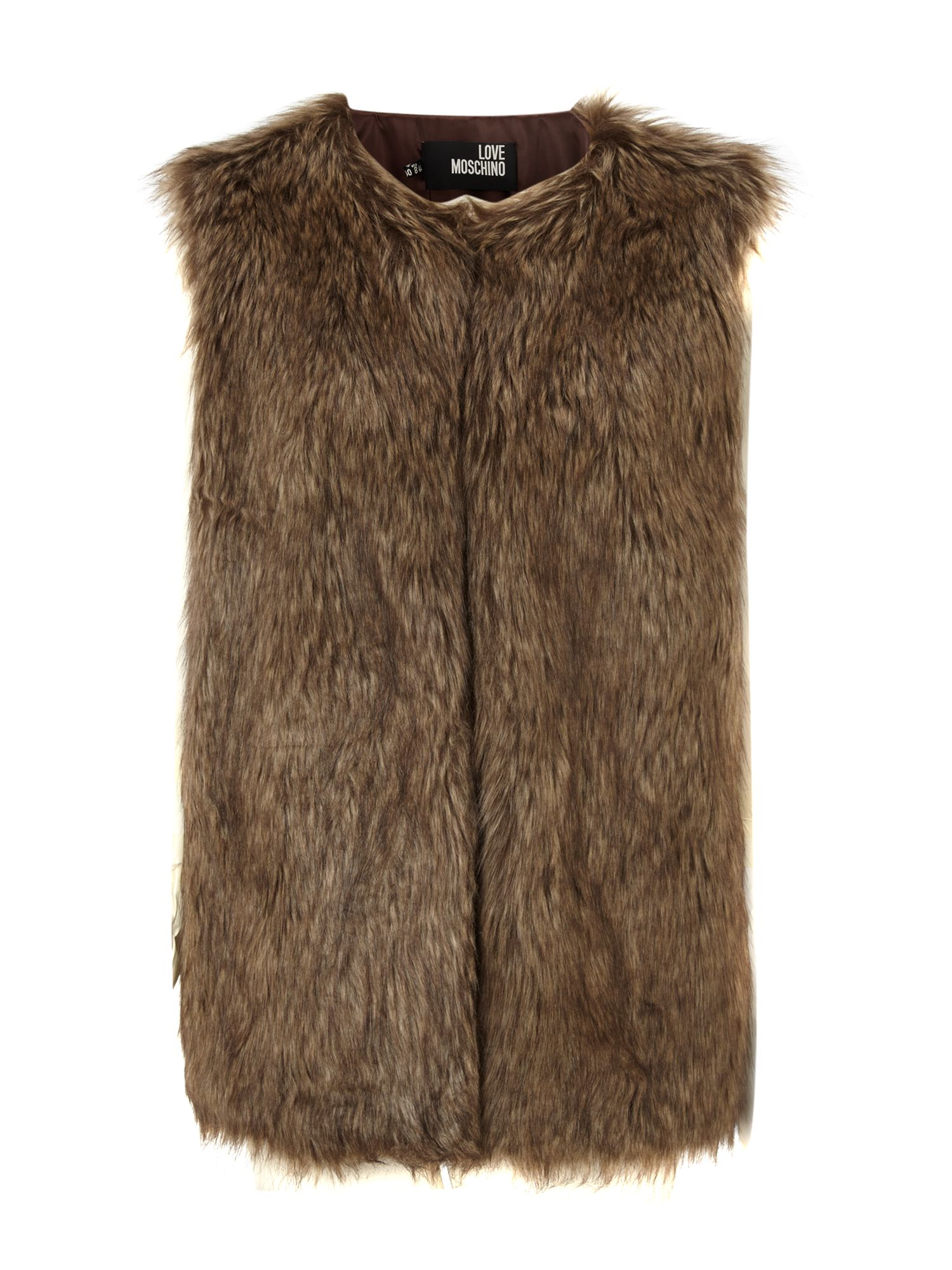 Mela. A faux fur gilet is a staple cover up this season. Try this one over a white shirt, jeans and finish with tan peep toe boots. - Soft faux fur finish- Sleeveless.