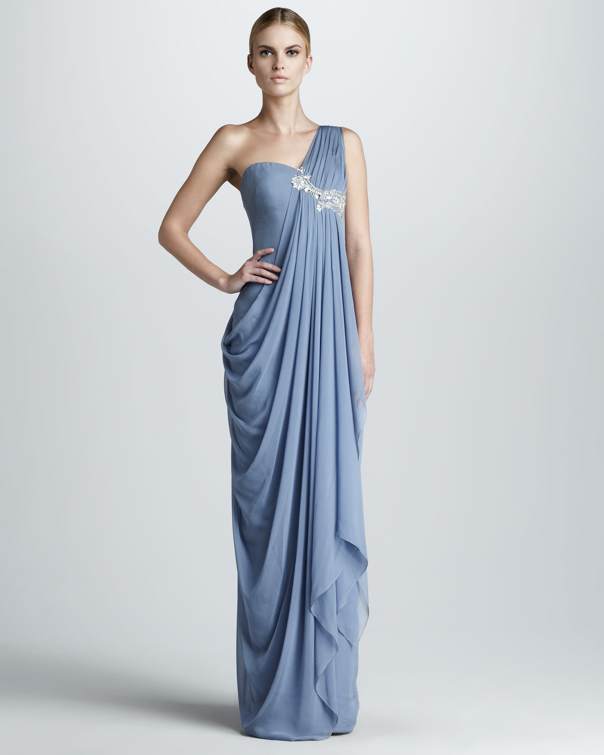 Lyst Notte By Marchesa Embroidered Draped Gown In Blue