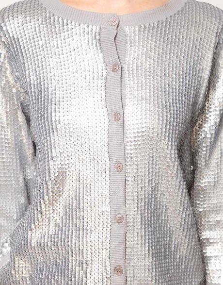 Zara Silver Sequin Cardigan 43