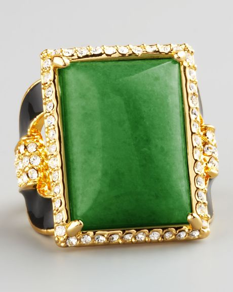 Rachel Zoe Square Ring  in Green (7)