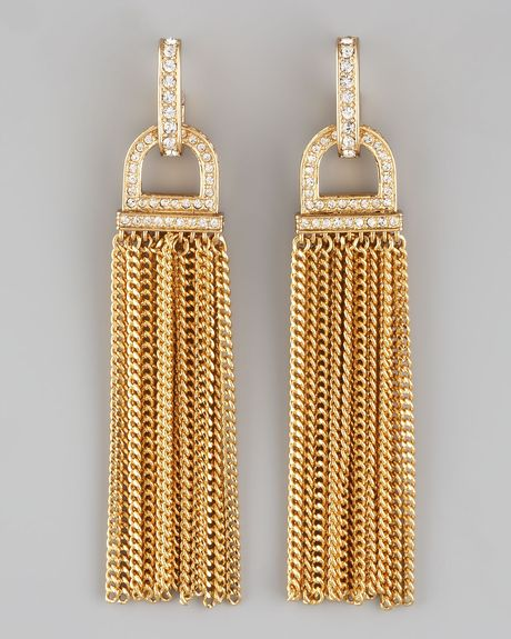 Rachel Zoe Rhinestone Tassel Earrings in Gold