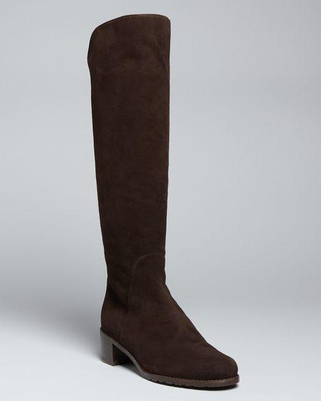 Stuart Weitzman Tall Flat Boots Arlington In Black Slate