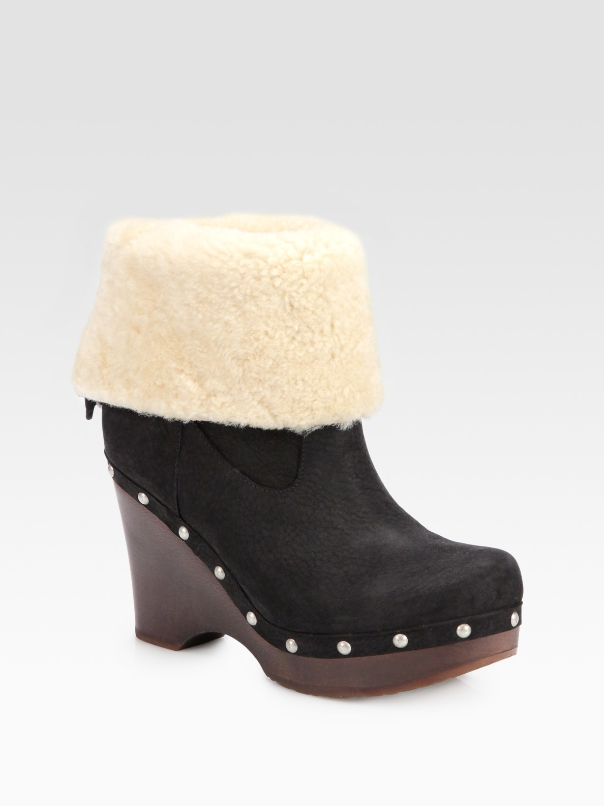 ugg carnagie leather shearling clog ankle boots in black