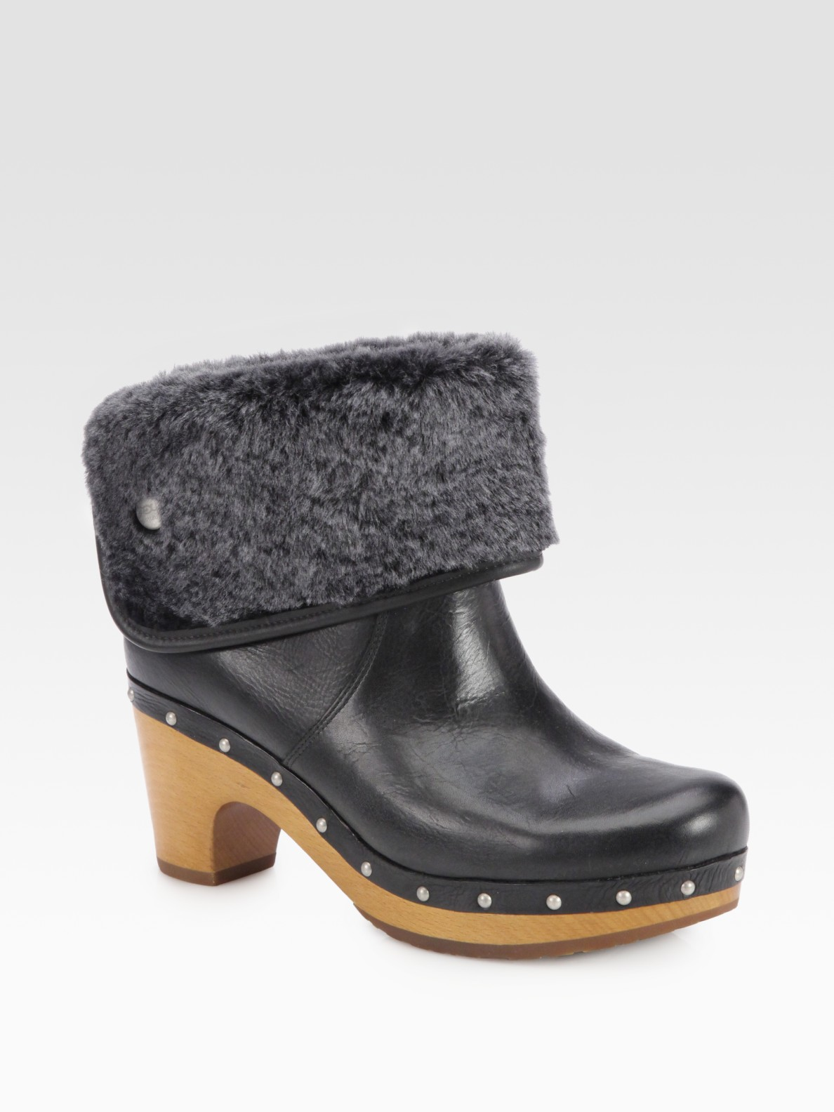 ugg lynnea leather shearling studded clog ankle boots in