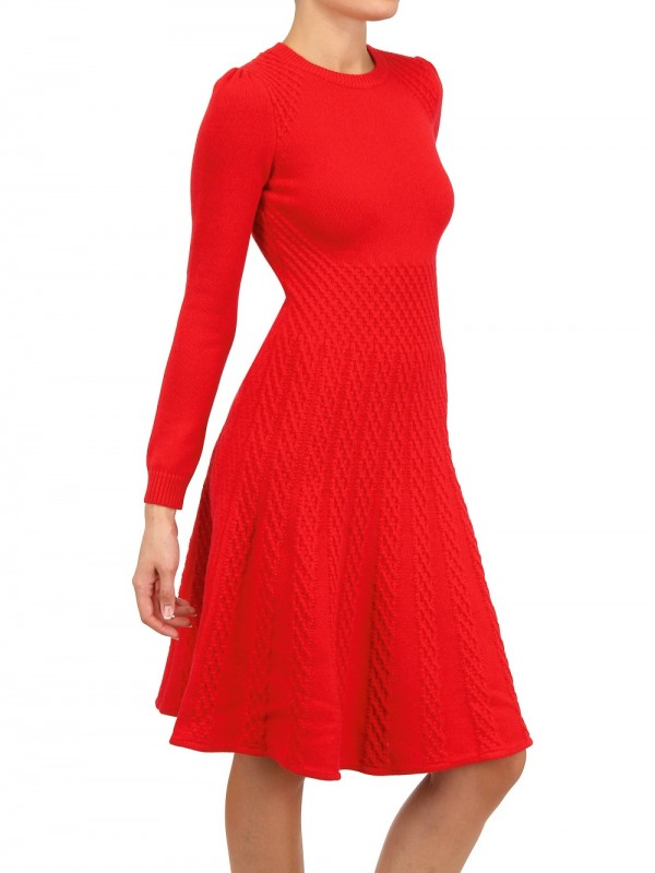 Valentino Wool Cashmere Knit Dress in Red | Lyst