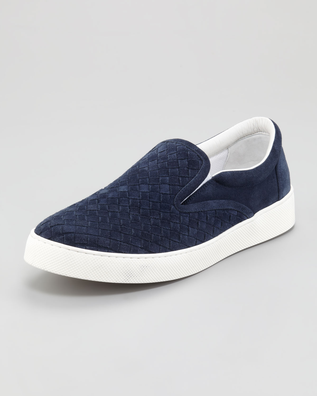 43cb384f3f6a Lyst - Bottega Veneta Woven Suede Sneaker Navy in Blue for Men