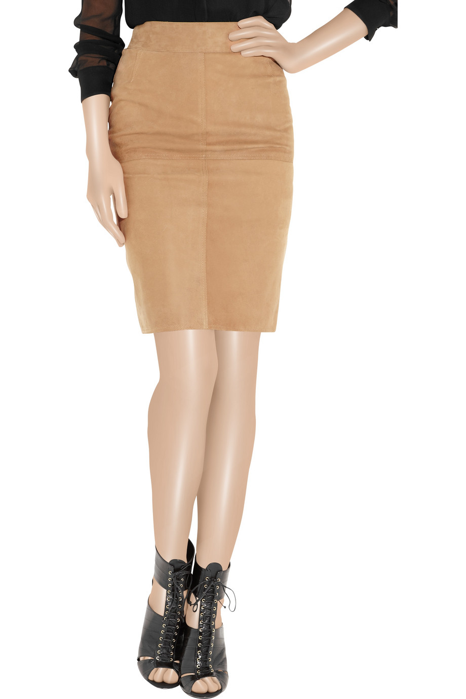Emma cook Paneled Suede Pencil Skirt in Natural | Lyst