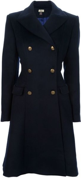 Issa Fitted Long Coat in Blue (navy)