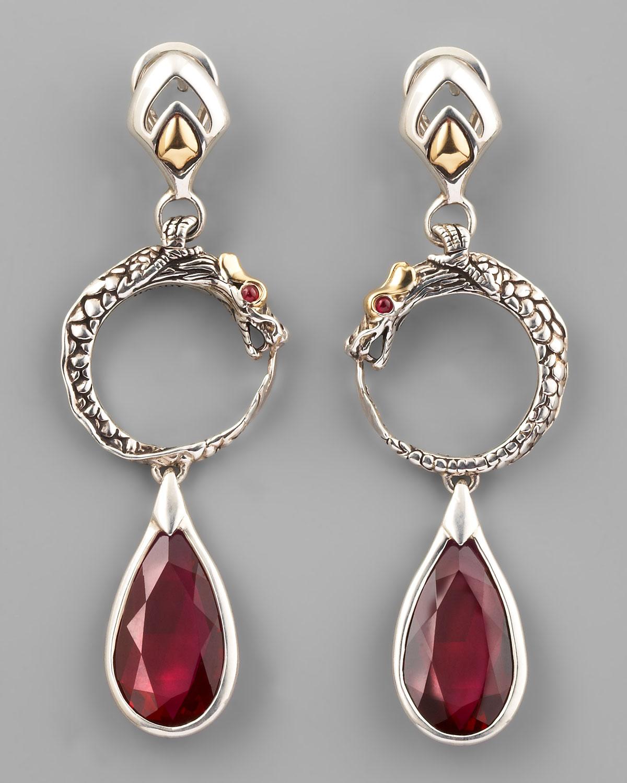 John Hardy Legends Naga Silver Long Drop Earrings with Black Sapphire & Spinel gdYnn7O