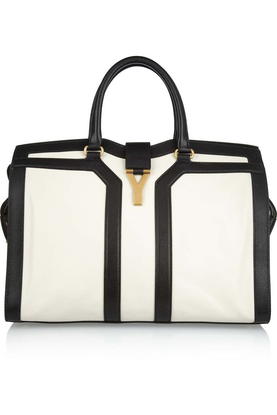 Saint laurent Large Cabas Chyc Leather Tote in White (black) | Lyst