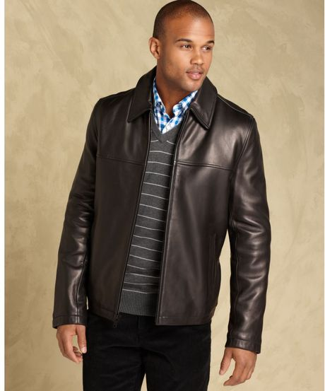 Tommy Hilfiger Smooth Lamb Leather Open Bottom Coat in ...