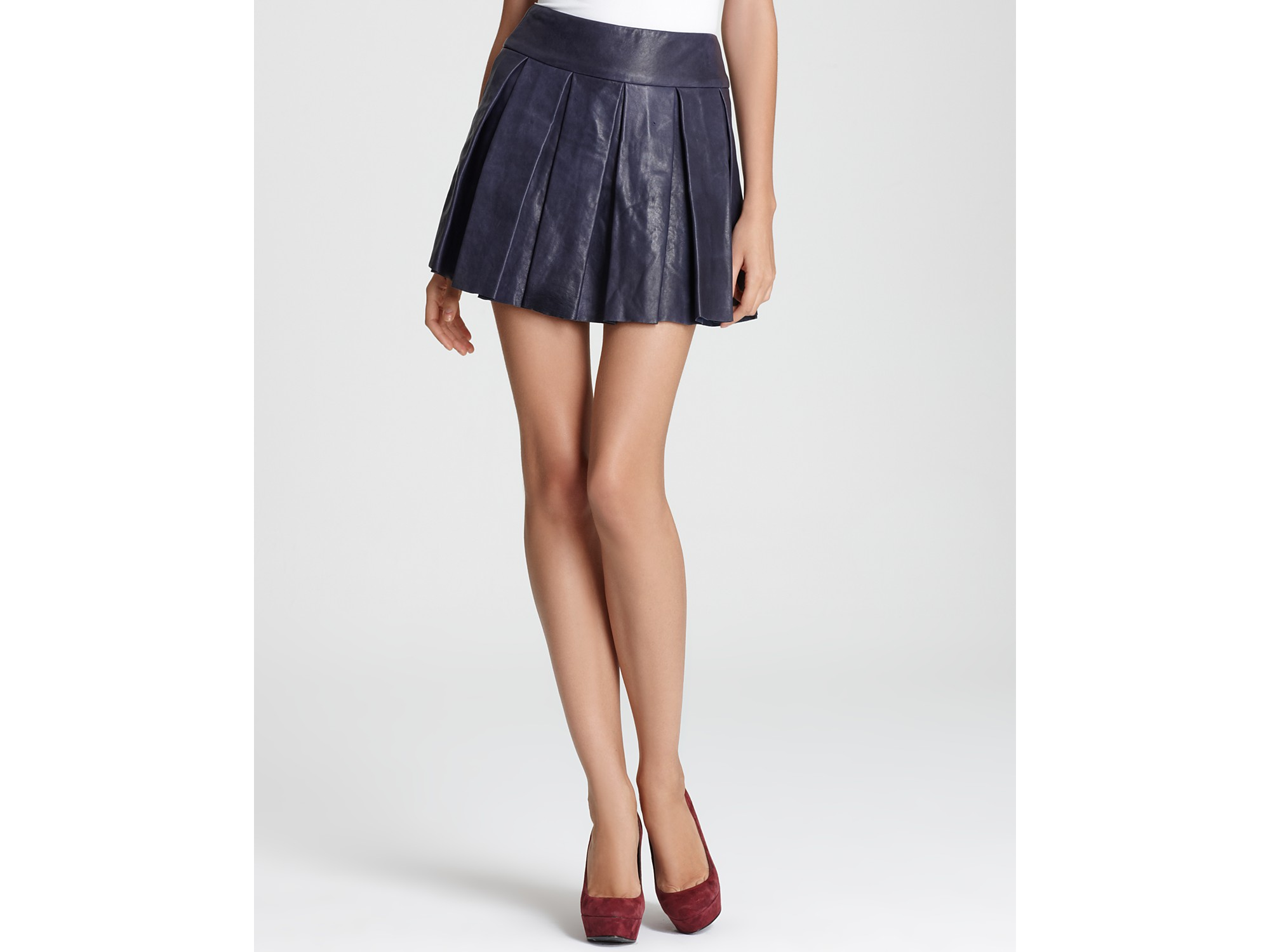 8c210b9ffb69 Pleated Leather Skirt - ShopStyle