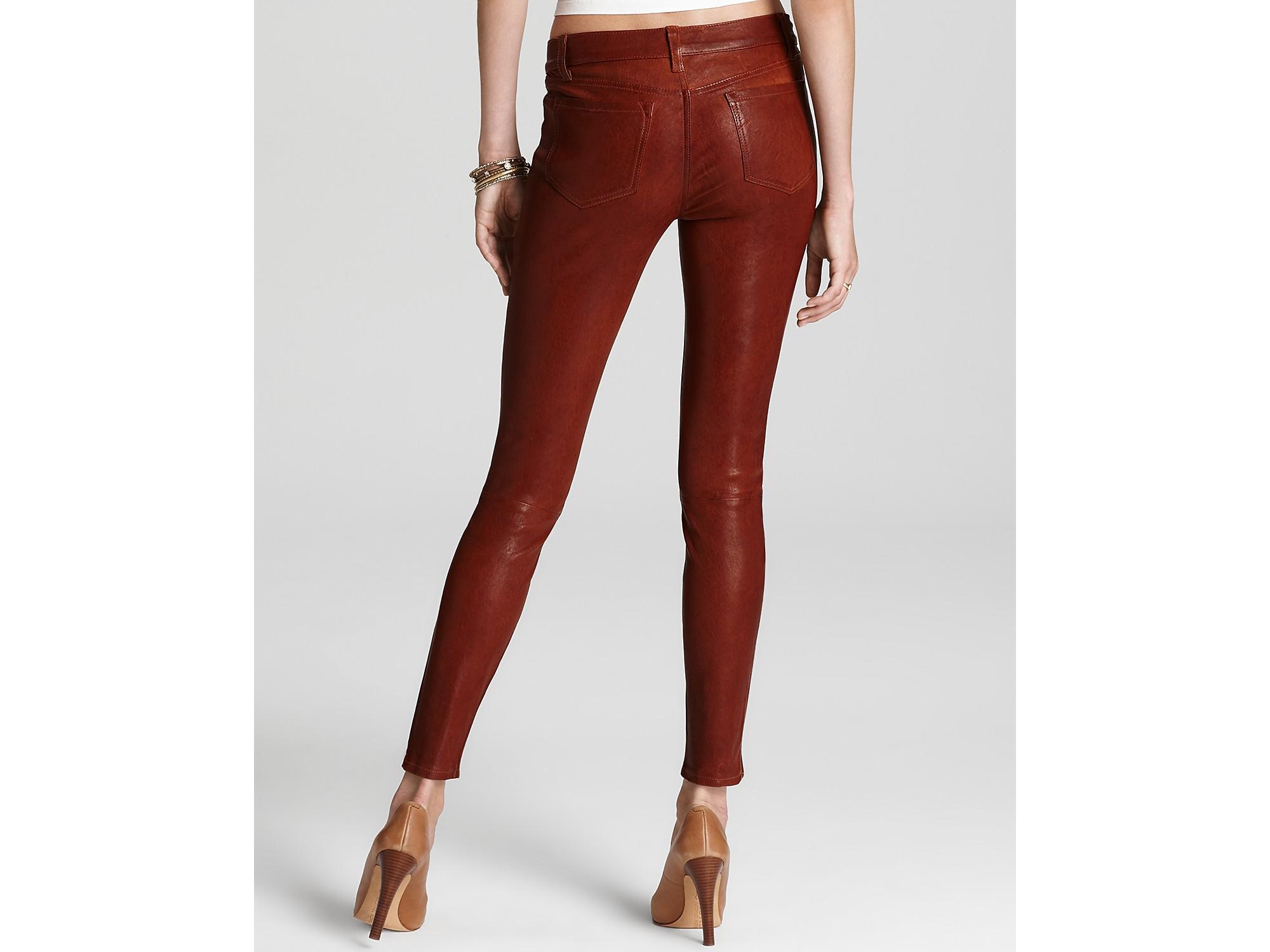 f3efa661ca3fd Lyst - J Brand Pants Super Skinny Leather in Cognac in Brown