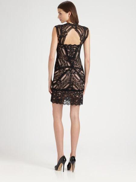 Nicole Miller Stretch Lace Dress In Black Lyst