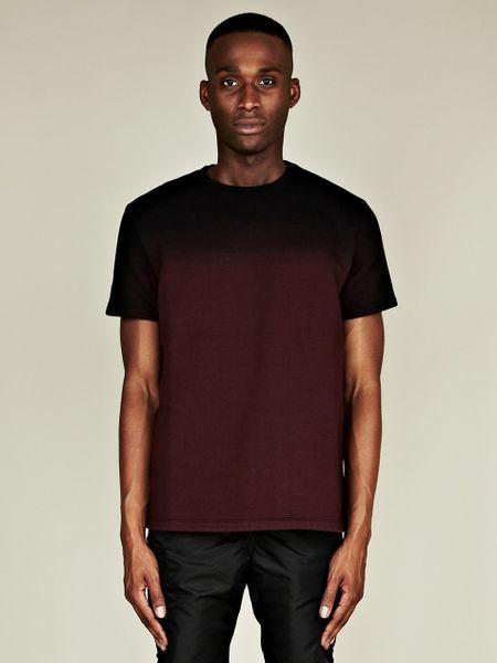 Raf simons raf simons mens dip dye jersey t shirt in red for Mens dip dye shirt