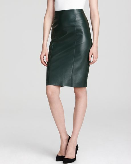 sachin babi leather skirt lara pencil in green emerald