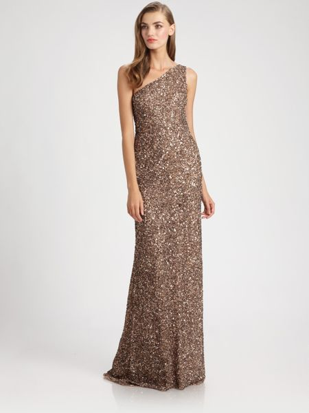 Theia Beaded Asymmetrical Gown in Brown (mocha)