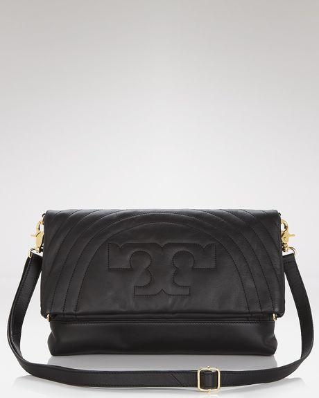 Tory Burch Messenger Stitched Logo Foldover in Black