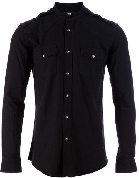 Balmain Mandarin Collar Shirt in Black for Men