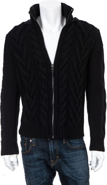 Michael Kors Cableknit Hooded Zip Sweater in Black for Men - Lyst