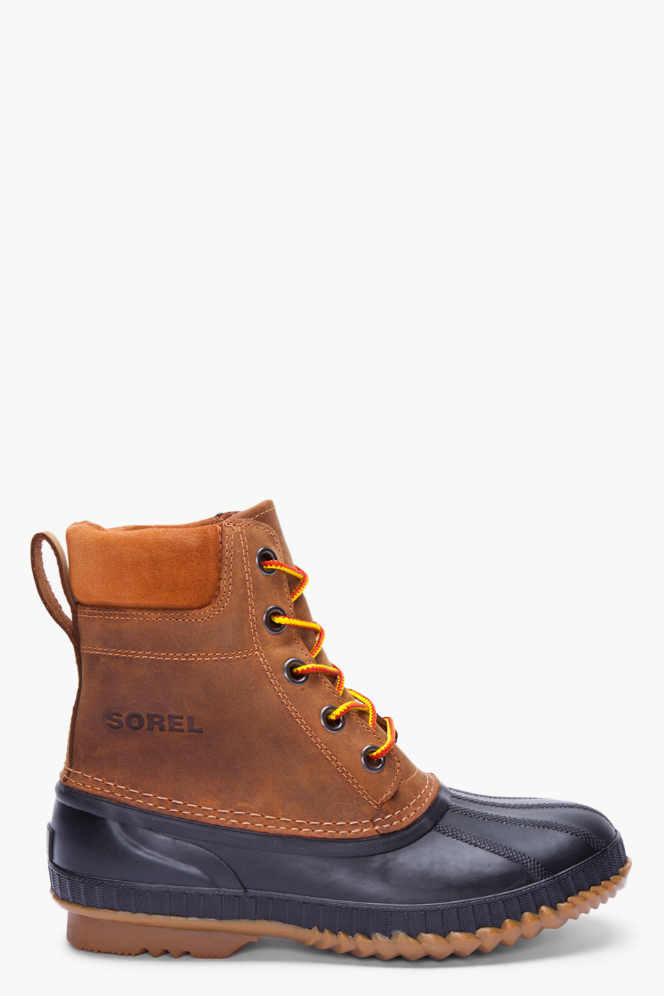sorel brown leather cheyanne boots in brown for lyst