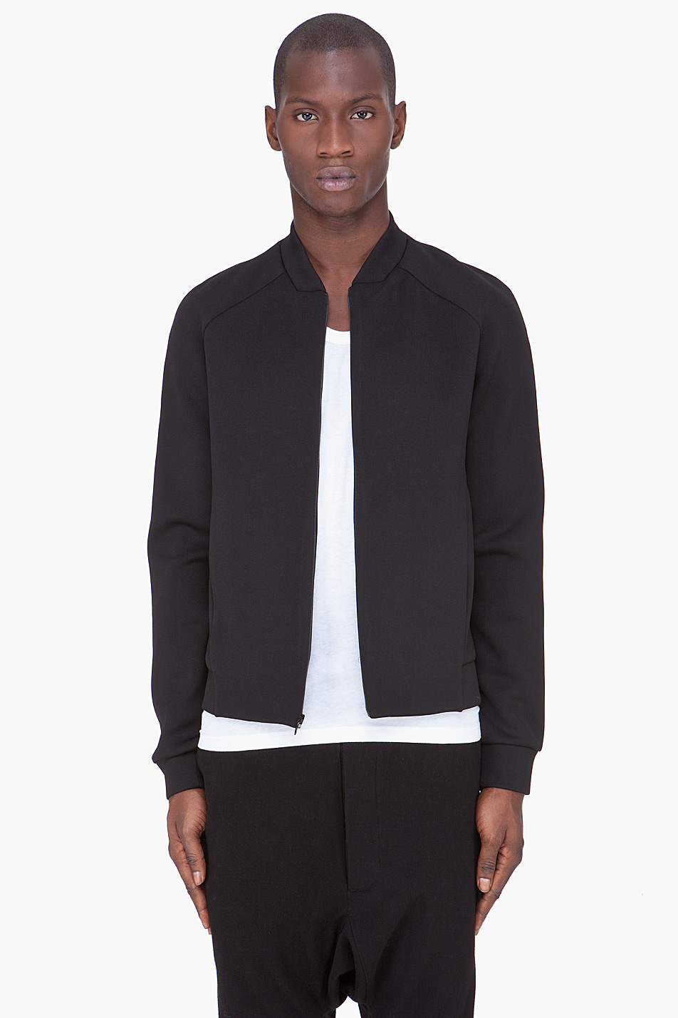 T by alexander wang Black Neoprene Bomber Jacket in Black for Men ...