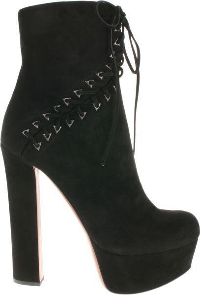 Alaïa Black Suede Boots with Decorative Laces in Black