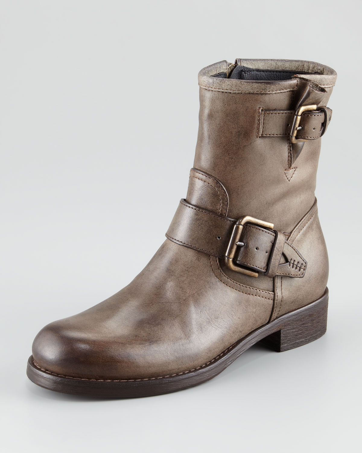 alberto fermani buckled leather moto boot in brown