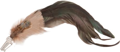 Alexander Mcqueen Feather Brooch in Silver for Men