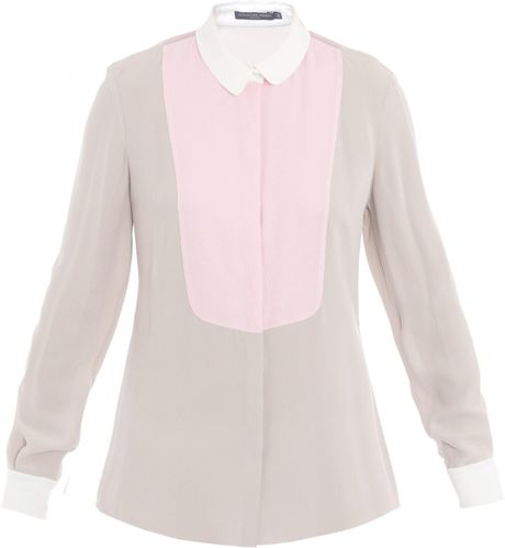 Alexander Mcqueen Tricolour Bib Front Blouse in Beige (taupe)